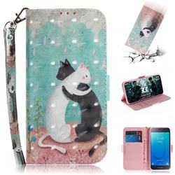 Black and White Cat 3D Painted Leather Wallet Phone Case for Samsung Galaxy J2 Core