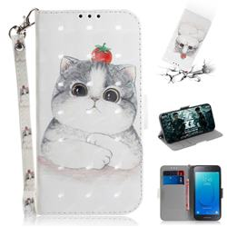 Cute Tomato Cat 3D Painted Leather Wallet Phone Case for Samsung Galaxy J2 Core