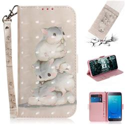 Three Squirrels 3D Painted Leather Wallet Phone Case for Samsung Galaxy J2 Core