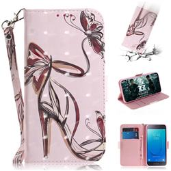 Butterfly High Heels 3D Painted Leather Wallet Phone Case for Samsung Galaxy J2 Core