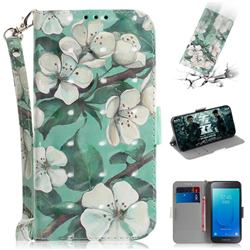Watercolor Flower 3D Painted Leather Wallet Phone Case for Samsung Galaxy J2 Core
