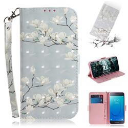 Magnolia Flower 3D Painted Leather Wallet Phone Case for Samsung Galaxy J2 Core