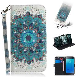 Peacock Mandala 3D Painted Leather Wallet Phone Case for Samsung Galaxy J2 Core