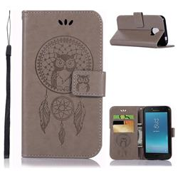 Intricate Embossing Owl Campanula Leather Wallet Case for Samsung Galaxy J2 Core - Grey