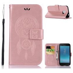 Intricate Embossing Owl Campanula Leather Wallet Case for Samsung Galaxy J2 Core - Rose Gold