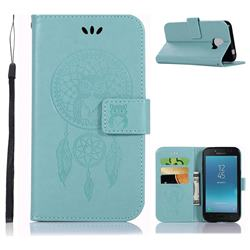Intricate Embossing Owl Campanula Leather Wallet Case for Samsung Galaxy J2 Core - Green
