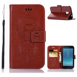 Intricate Embossing Owl Campanula Leather Wallet Case for Samsung Galaxy J2 Core - Brown