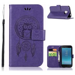Intricate Embossing Owl Campanula Leather Wallet Case for Samsung Galaxy J2 Core - Purple