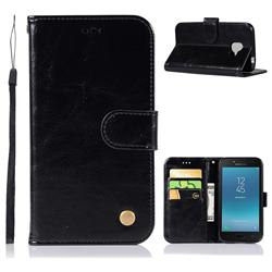 Luxury Retro Leather Wallet Case for Samsung Galaxy J2 Core - Black