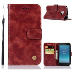 Luxury Retro Leather Wallet Case for Samsung Galaxy J2 Core - Wine Red