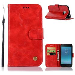 Luxury Retro Leather Wallet Case for Samsung Galaxy J2 Core - Red