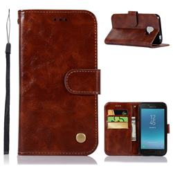 Luxury Retro Leather Wallet Case for Samsung Galaxy J2 Core - Brown