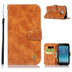 Luxury Retro Leather Wallet Case for Samsung Galaxy J2 Core - Golden