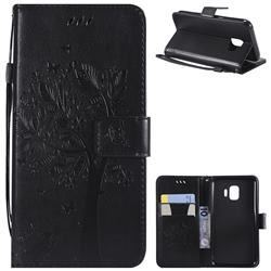 Embossing Butterfly Tree Leather Wallet Case for Samsung Galaxy J2 Core - Black
