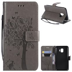Embossing Butterfly Tree Leather Wallet Case for Samsung Galaxy J2 Core - Grey
