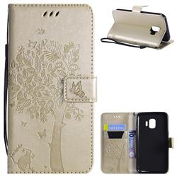 Embossing Butterfly Tree Leather Wallet Case for Samsung Galaxy J2 Core - Champagne