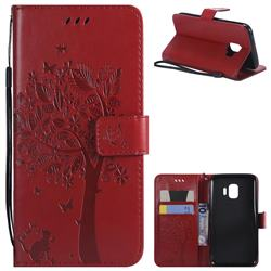 Embossing Butterfly Tree Leather Wallet Case for Samsung Galaxy J2 Core - Red