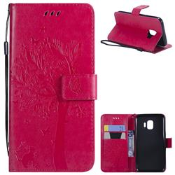 Embossing Butterfly Tree Leather Wallet Case for Samsung Galaxy J2 Core - Rose