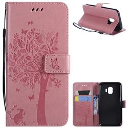 Embossing Butterfly Tree Leather Wallet Case for Samsung Galaxy J2 Core - Pink