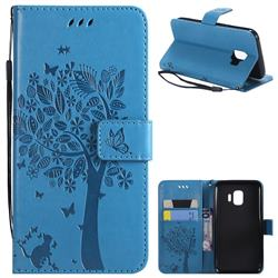 Embossing Butterfly Tree Leather Wallet Case for Samsung Galaxy J2 Core - Blue