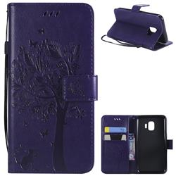 Embossing Butterfly Tree Leather Wallet Case for Samsung Galaxy J2 Core - Purple