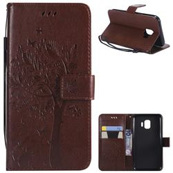 Embossing Butterfly Tree Leather Wallet Case for Samsung Galaxy J2 Core - Coffee