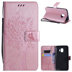 Embossing Butterfly Tree Leather Wallet Case for Samsung Galaxy J2 Core - Rose Pink