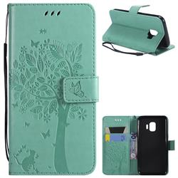 Embossing Butterfly Tree Leather Wallet Case for Samsung Galaxy J2 Core - Cyan