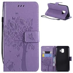 Embossing Butterfly Tree Leather Wallet Case for Samsung Galaxy J2 Core - Violet