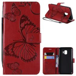 Embossing 3D Butterfly Leather Wallet Case for Samsung Galaxy J2 Core - Red