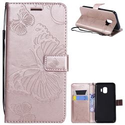 Embossing 3D Butterfly Leather Wallet Case for Samsung Galaxy J2 Core - Rose Gold