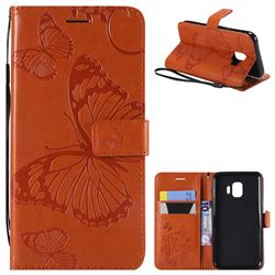Embossing 3D Butterfly Leather Wallet Case for Samsung Galaxy J2 Core - Orange