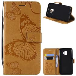 Embossing 3D Butterfly Leather Wallet Case for Samsung Galaxy J2 Core - Yellow
