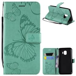 Embossing 3D Butterfly Leather Wallet Case for Samsung Galaxy J2 Core - Green