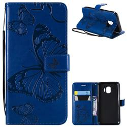 Embossing 3D Butterfly Leather Wallet Case for Samsung Galaxy J2 Core - Blue