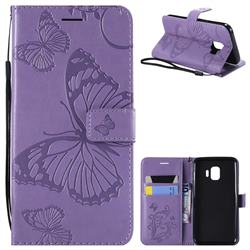 Embossing 3D Butterfly Leather Wallet Case for Samsung Galaxy J2 Core - Purple
