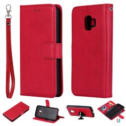 Retro Greek Detachable Magnetic PU Leather Wallet Phone Case for Samsung Galaxy J2 Core - Red
