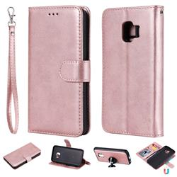 Retro Greek Detachable Magnetic PU Leather Wallet Phone Case for Samsung Galaxy J2 Core - Rose Gold