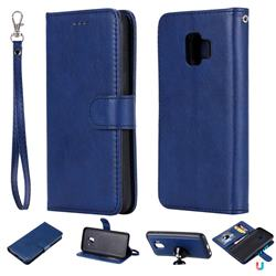 Retro Greek Detachable Magnetic PU Leather Wallet Phone Case for Samsung Galaxy J2 Core - Blue