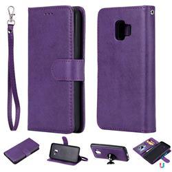 Retro Greek Detachable Magnetic PU Leather Wallet Phone Case for Samsung Galaxy J2 Core - Purple