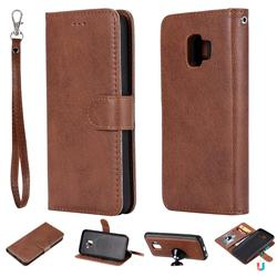 Retro Greek Detachable Magnetic PU Leather Wallet Phone Case for Samsung Galaxy J2 Core - Brown