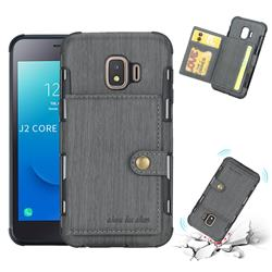 Brush Multi-function Leather Phone Case for Samsung Galaxy J2 Core - Gray
