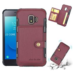 Brush Multi-function Leather Phone Case for Samsung Galaxy J2 Core - Wine Red