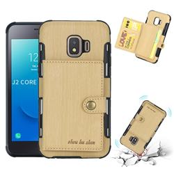 Brush Multi-function Leather Phone Case for Samsung Galaxy J2 Core - Golden