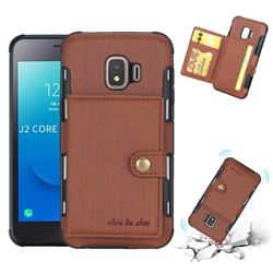 Brush Multi-function Leather Phone Case for Samsung Galaxy J2 Core - Brown