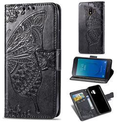 Embossing Mandala Flower Butterfly Leather Wallet Case for Samsung Galaxy J2 Core - Black