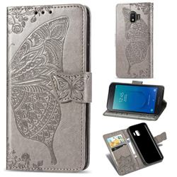 Embossing Mandala Flower Butterfly Leather Wallet Case for Samsung Galaxy J2 Core - Gray