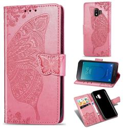 Embossing Mandala Flower Butterfly Leather Wallet Case for Samsung Galaxy J2 Core - Pink