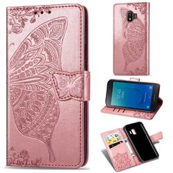 Embossing Mandala Flower Butterfly Leather Wallet Case for Samsung Galaxy J2 Core - Rose Gold