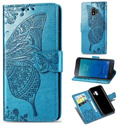Embossing Mandala Flower Butterfly Leather Wallet Case for Samsung Galaxy J2 Core - Blue